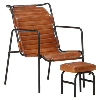 vidaXL Fotelja za opuštanje s tabureom smeđa od prave kože