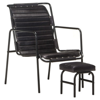 vidaXL Fotelja za opuštanje s tabureom crna od prave kože