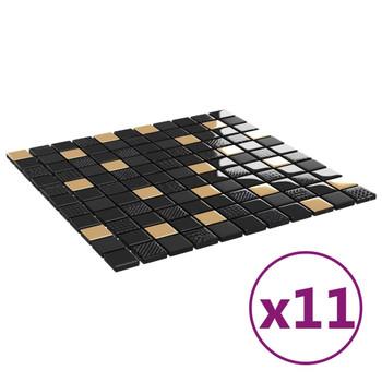 vidaXL Samoljepljive pločice mozaik 11 kom crno-zlatne 30x30 cm staklo