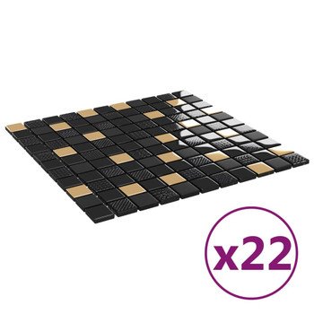 vidaXL Samoljepljive pločice mozaik 22 kom crno-zlatne 30x30 cm staklo