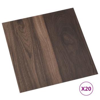 vidaXL Samoljepljive podne obloge 20 kom PVC 1,86 m² tamnosmeđe