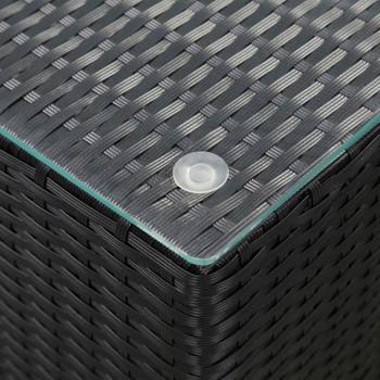 vidaXL Bočni stolić sa staklenom površinom crni 35x35x52 cm poliratan