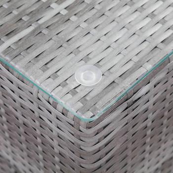 vidaXL Bočni stolić sa staklenom površinom sivi 35x35x52 cm poliratan