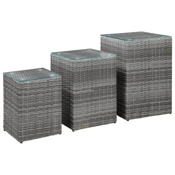 vidaXL Bočni stolići sa staklenom površinom 3 kom sivi od poliratana