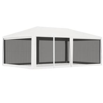 vidaXL Šator za zabave s 4 mrežasta bočna zida 4 x 6 m bijeli