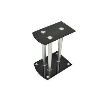 Aluminijski stalci sa sigurnosnim crnim staklom za zvučnike, 2 kom