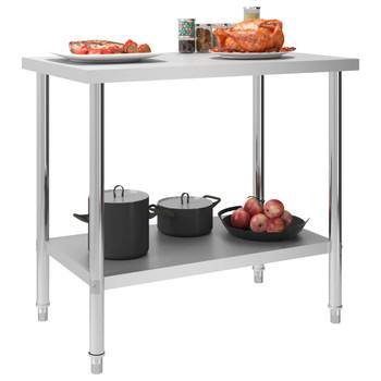 vidaXL Kuhinjski radni stol 100 x 60 x 85 cm od nehrđajućeg čelika