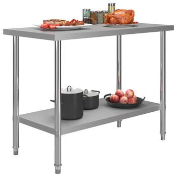 vidaXL Kuhinjski radni stol 120 x 60 x 85 cm od nehrđajućeg čelika