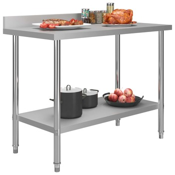 vidaXL Kuhinjski radni stol 120 x 60 x 93 cm od nehrđajućeg čelika