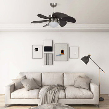 vidaXL Stropni ventilator sa svjetlom 76 cm tamnosmeđi