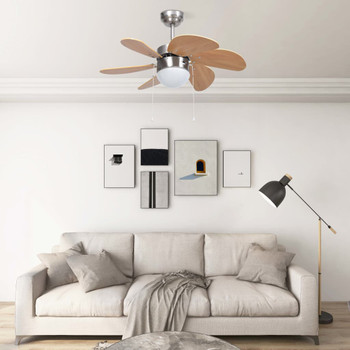 vidaXL Stropni ventilator sa svjetlom 76 cm svjetlosmeđi