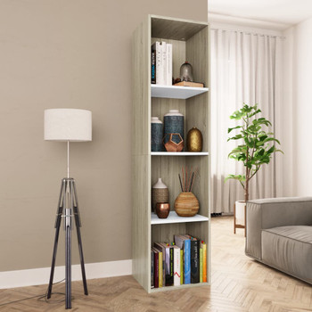 vidaXL Ormarić za knjige/TV bijeli i boja hrasta 36x30x143 cm iverica