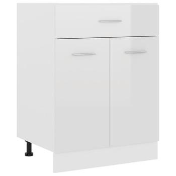vidaXL Donji ormarić s ladicom sjajni bijeli 60x46x81,5 cm od iverice