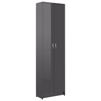 vidaXL Ormar za hodnik visoki sjaj sivi 55 x 25 x 189 cm od iverice