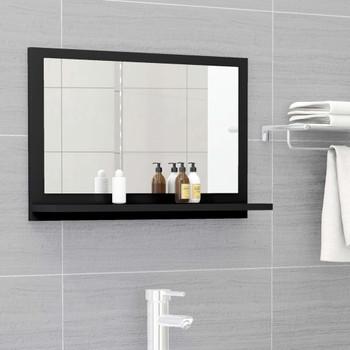 vidaXL Kupaonsko ogledalo crno 60 x 10,5 x 37 cm od iverice