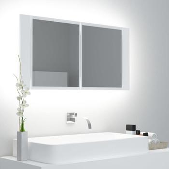 vidaXL LED kupaonski ormarić s ogledalom bijeli 90 x 12 x 45 cm