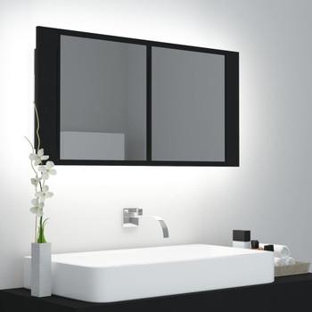 vidaXL LED kupaonski ormarić s ogledalom crni 90 x 12 x 45 cm