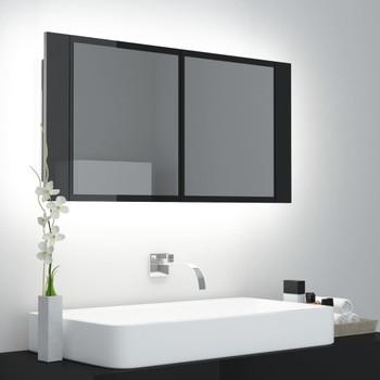 vidaXL LED kupaonski ormarić s ogledalom visoki sjaj crni 90x12x45 cm