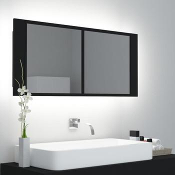 vidaXL LED kupaonski ormarić s ogledalom crni 100 x 12 x 45 cm