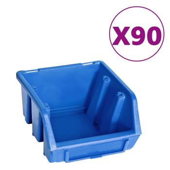 vidaXL 96-dijelni set kutija za pohranu sa zidnim pločama plavo-crni
