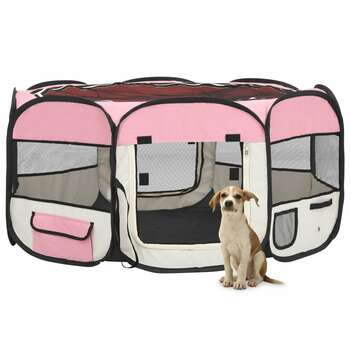 vidaXL Sklopiva ogradica za pse s torbom za nošenje roza 145x145x61 cm