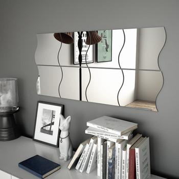 vidaXL Zidna ogledala 8 kom 20 x 20 cm valovita staklena