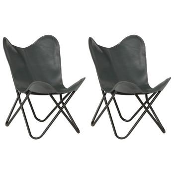 vidaXL Leptir-stolice od prave kože 2 kom sive dječja veličina