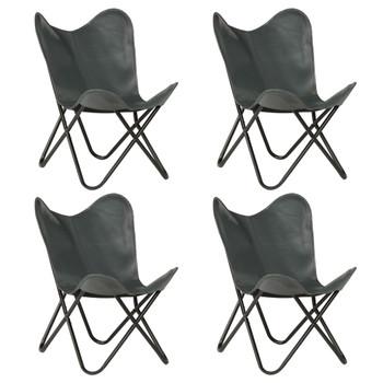 vidaXL Leptir-stolice od prave kože 4 kom sive dječja veličina