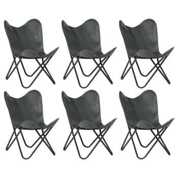 vidaXL Leptir-stolice od prave kože 6 kom sive dječja veličina