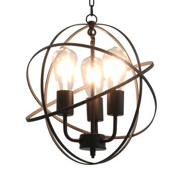 vidaXL Viseća svjetiljka crna kuglasta s 3 žarulje E27