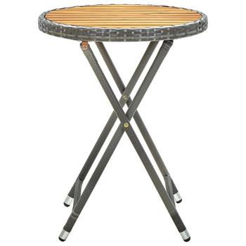 vidaXL Čajni stolić sivi 60 cm od poliratana i masivnog drva bagrema