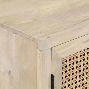 vidaXL Komoda od masivnog drva manga i prirodne trske 60 x 35 x 70 cm