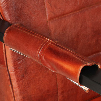 vidaXL Fotelja od prave kozje kože 60 x 80 x 87 cm tamnosmeđa