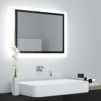 vidaXL LED kupaonsko ogledalo visoki sjaj crno 60x8,5x37 cm od iverice