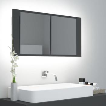 vidaXL LED kupaonski ormarić s ogledalom sivi 90 x 12 x 45 cm
