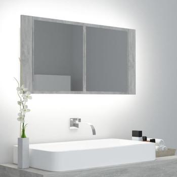 vidaXL LED kupaonski ormarić s ogledalom siva boja betona 90x12x45 cm
