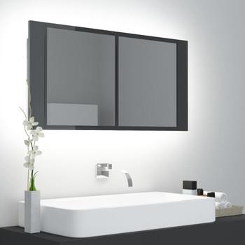 vidaXL LED kupaonski ormarić s ogledalom visoki sjaj sivi 90x12x45 cm