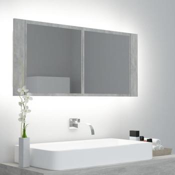 vidaXL LED kupaonski ormarić s ogledalom siva boja betona 100x12x45 cm