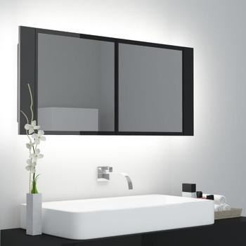 vidaXL LED kupaonski ormarić s ogledalom sjajni crni 100 x 12 x 45 cm