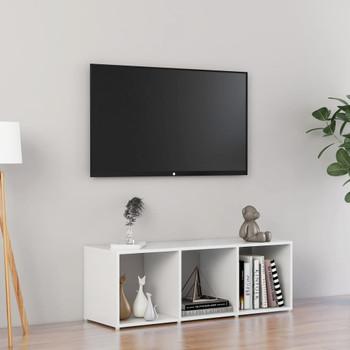 vidaXL TV ormarić visoki sjaj bijeli 107 x 35 x 37 cm od iverice