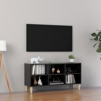 vidaXL TV ormarić s drvenim nogama visoki sjaj crni 103,5 x 30 x 50 cm