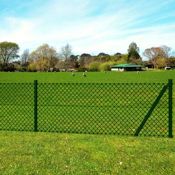 vidaXL Žičana ograda sa stupovima i šiljcima čelična 1,5 x 15 m