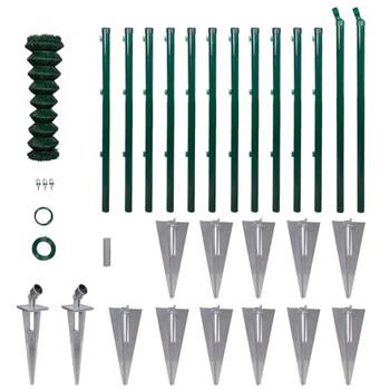 vidaXL Žičana ograda sa stupovima i šiljcima čelična 1,5 x 25 m