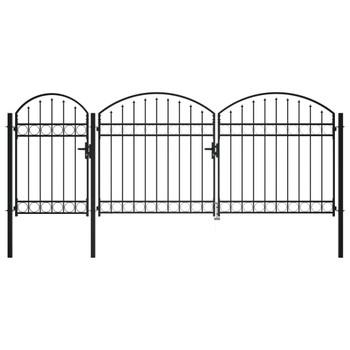 vidaXL Vrata za vrtnu ogradu s lučnim vrhom čelična 2,25 x 4 m crna