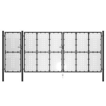 vidaXL Vrtna vrata čelična 500 x 175 cm crna