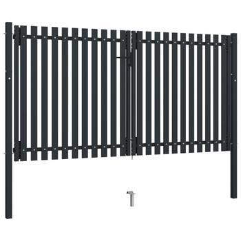 vidaXL Dvostruka vrata za ogradu od čelika 306 x 220 cm antracit