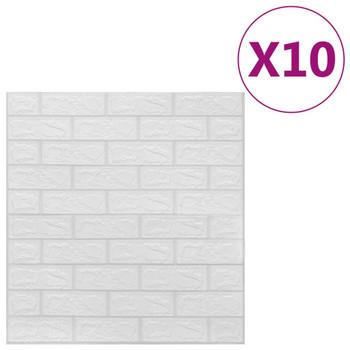 vidaXL 3D zidne tapete s uzorkom cigli samoljepljive 10 kom bijele