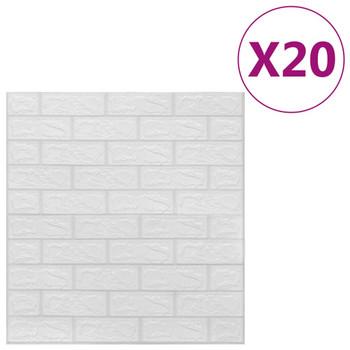 vidaXL 3D zidne tapete s uzorkom cigli samoljepljive 20 kom bijele