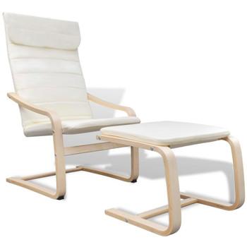 vidaXL Fotelja s okvirom od savijenog drveta i tkanine krem