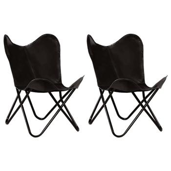 vidaXL Leptir-stolice od prave kože 2 kom crne dječja veličina